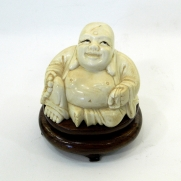 6813.Buddha Ivory Figure With Wooden Pedestal, China c.1900